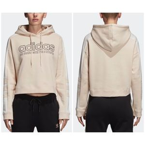Adidas Crop Moto Hoodie Tan Three Stripes